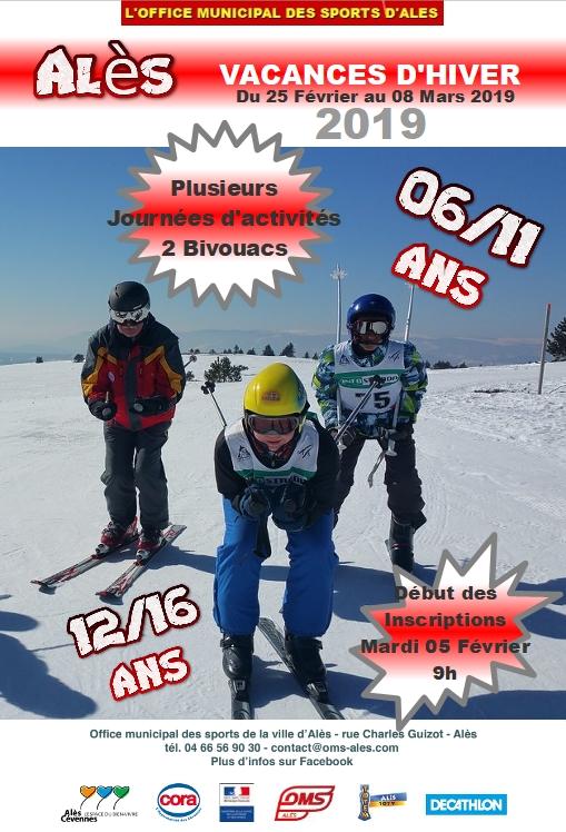 L'OMS de la ville d'Alès organise les vacances sportives d'Hiver du Lundi 25 Février 2019 au Vendredi 08 Mars 2019